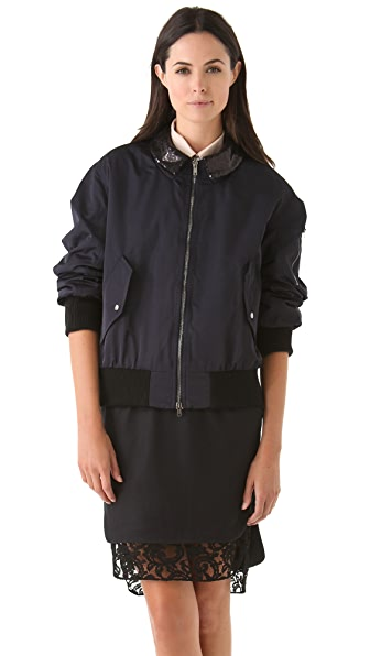 No. 21 Bomber Jacket with Sequin Collar