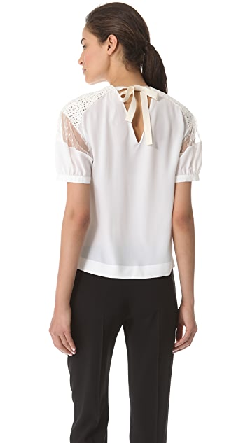 No. 21 Lace Shoulder Blouse with Tie