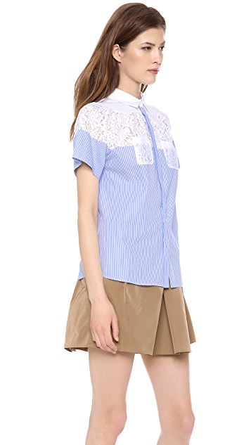 No. 21 Striped Blouse with Lace Pockets