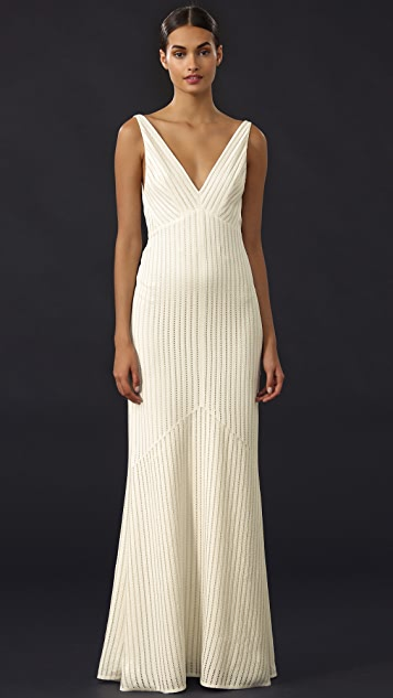Narciso Rodriguez V Neck Sequin Gown