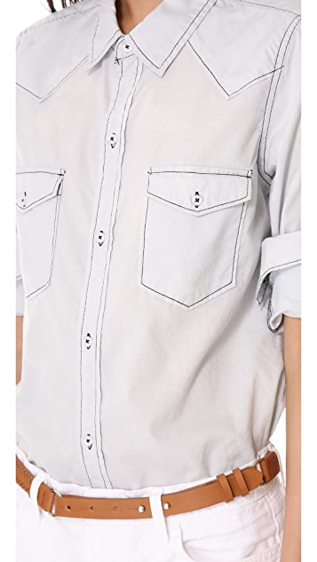 NSF Leslie Bleached Indigo Button Down Shirt