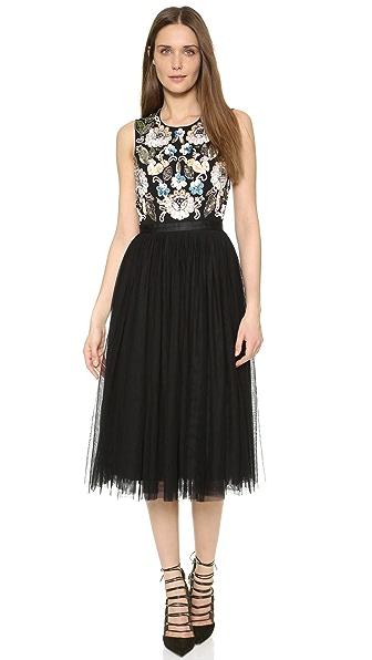 Needle & Thread Oriental Garden Midi Dress - Black