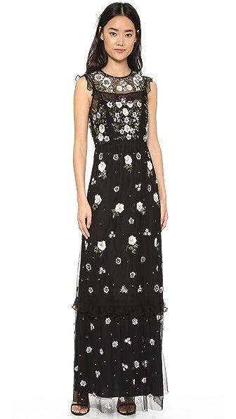 Needle & Thread Floral Frill Maxi Dress - Black