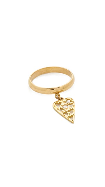 Natasha Zinko 18k Gold Ring with Diamond Heart