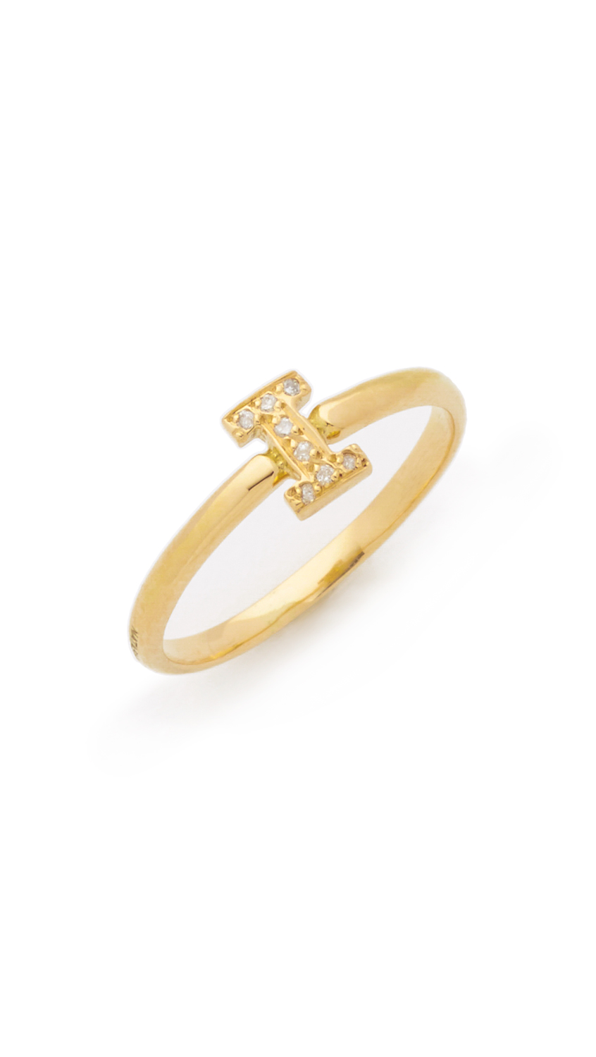 Letter I diamond ring Natasha Zinko jye3xR