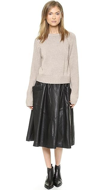 Oak Ribbed Sleeve Sweater