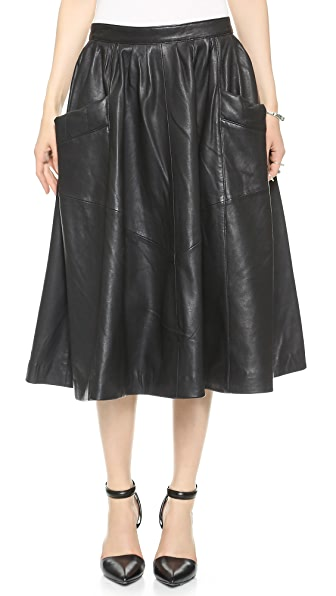 Oak Harper Leather Skirt