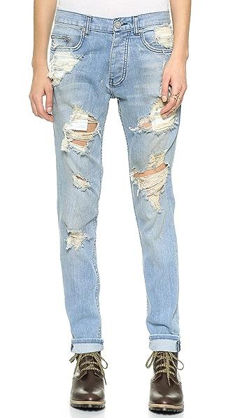 Oak Destroyed Slouchy Skinny Jeans