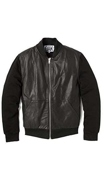 Oak Shell Leather Bomber Jacket