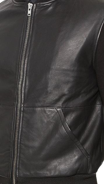 Oak Shell Leather Bomber Jacket