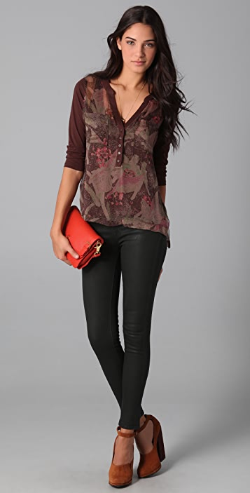 Of Two Minds Tilda Print Henley Blouse
