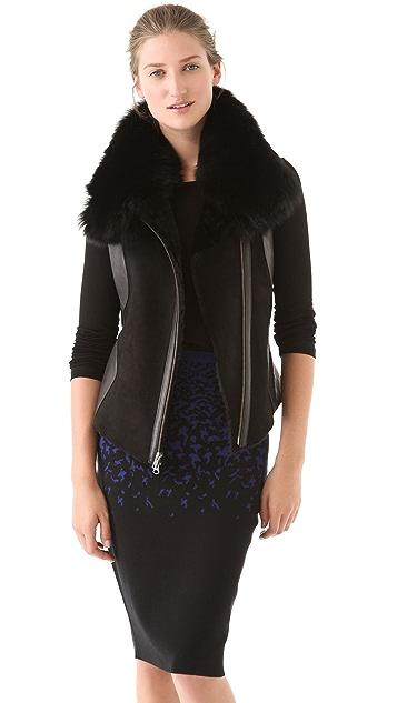 Ohne Titel Shearling & Leather Vest with Fox Fur Trim