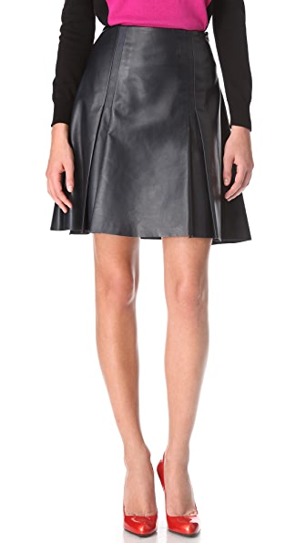 Ohne Titel Leather Box Pleat Skirt
