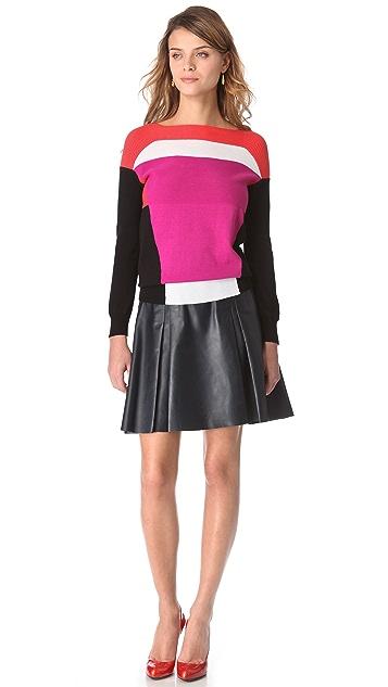 Ohne Titel Leather Box Pleat Skirt