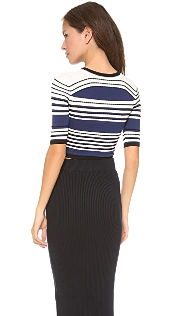 Ohne Titel Textured Stripe Crop Top