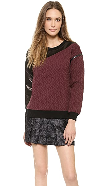 Ohne Titel Quilted Sweatshirt with Leather Trim