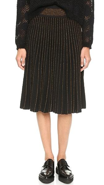 Ohne Titel Metallic Long Pleat Skirt - Copper/Black