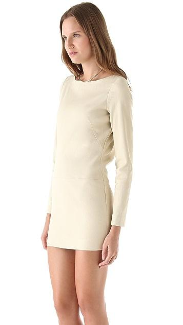 Olcay Gulsen Leather Mini Dress