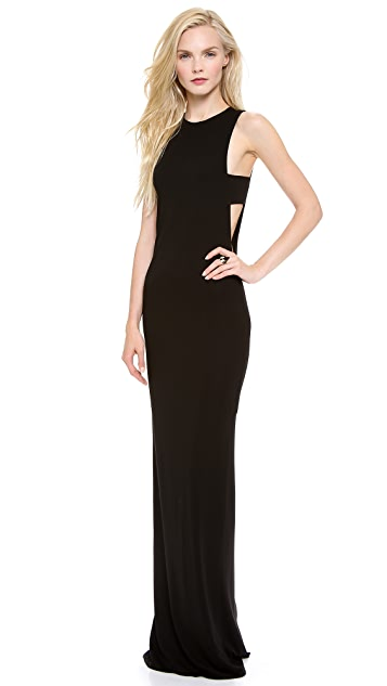 Olcay Gulsen Sleeveless Open Side Gown