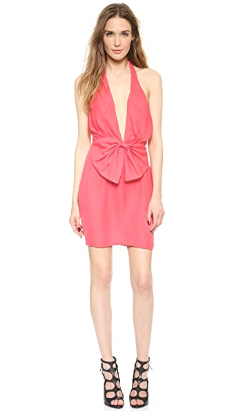 Olcay Gulsen Deep V Bow Mini Dress