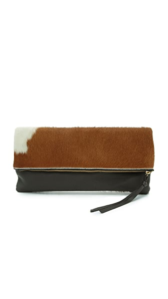 Oliveve Oversized Haircalf Riley Clutch - Natural