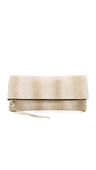 Oliveve Oversized Riley Clutch - Cream Cobra
