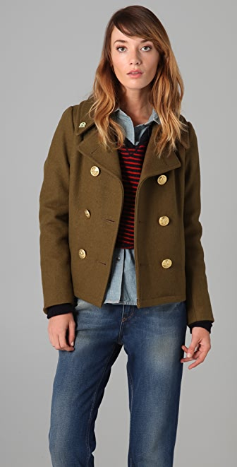 ONE by Gerald & Stewart by Fidelity Short Pea Coat with Brass ...