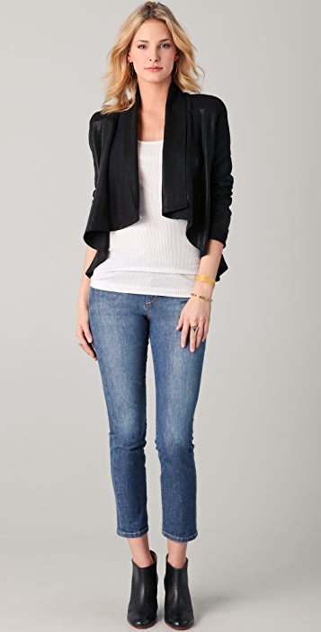 ONE by krisa Coated Drape Jacket