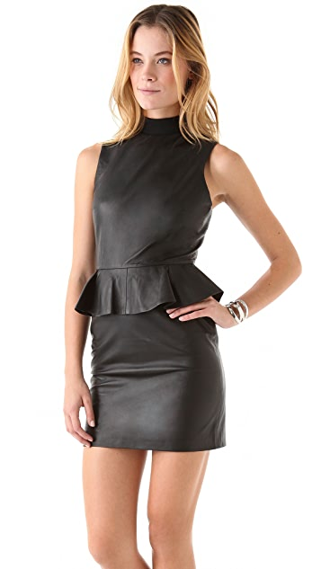 ONE by Jonathan Simkhai Leather Peplum Dress