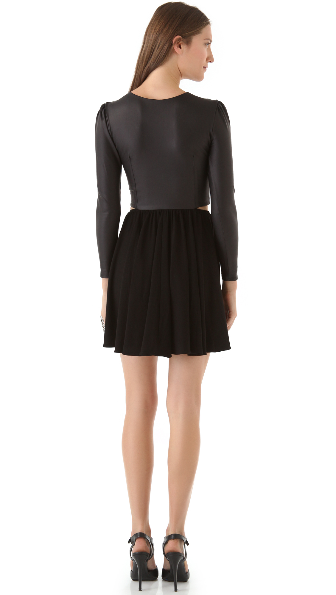 a14f5d73ed ONE by Donna Mizani Cutout Skate Dress with Puff Sleeves