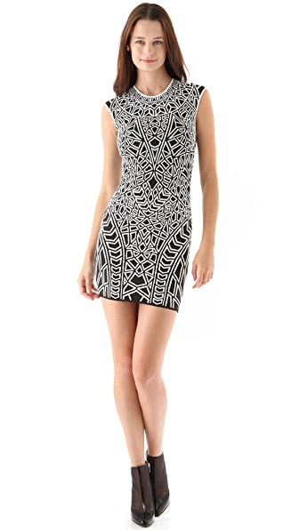 ONE by RVN Geo Textured Knit Mini Dress