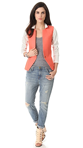 ONE by Mei Two Tone Jacket with Faux Leather Sleeves