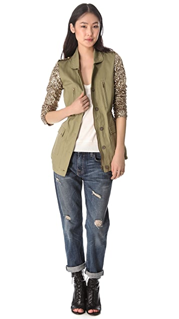 ONE by Faubourg du Temple Twill Jacket with Sequin Sleeves