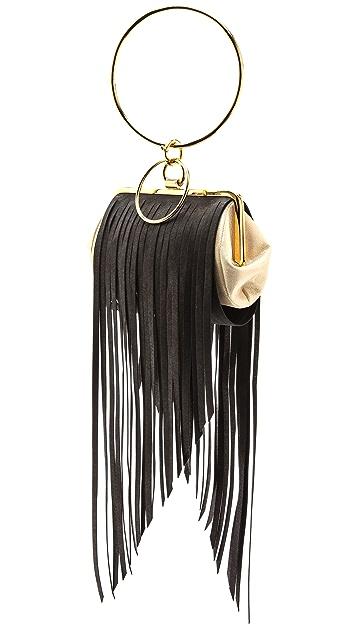 ONE by Alcantara Double Ring Fringe Evening Bag