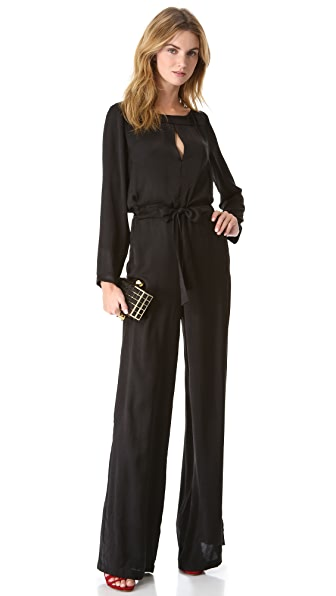 ONE by COREY Jade Slit Neck Jumpsuit