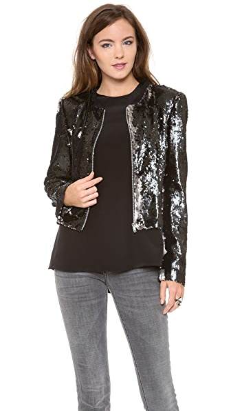ONE by La Maison Glass Zippered Jacket