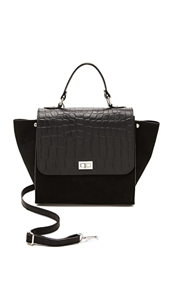 ONE by Michaella Barri Collection Croc Embossed Colorblock Satchel