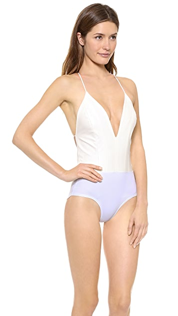 ONE by Nines Faux Leather V Bodysuit