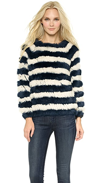 ONE by Nightwalker Bunker Fur Striped Sweater