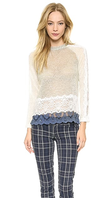 ONE by Michelle Kim Chamisa Sweater with Lace