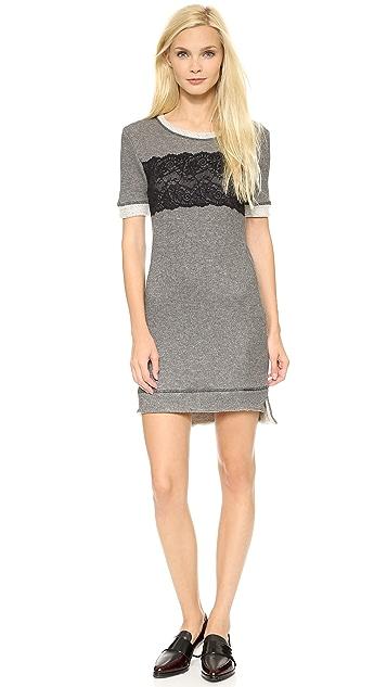 ONE by WREN Lace Sweatshirt Mini Dress