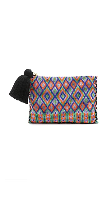 ONE by Parcel & Journey Beaded Pouchette with Tassel