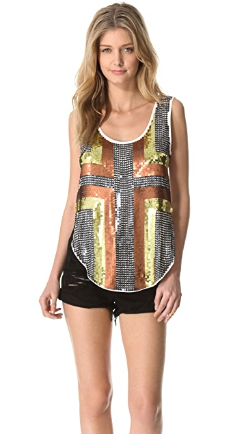 One Teaspoon Devil Inside Sequin Dolly Top