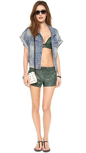 One Teaspoon Daddycool Leather Bodice Top