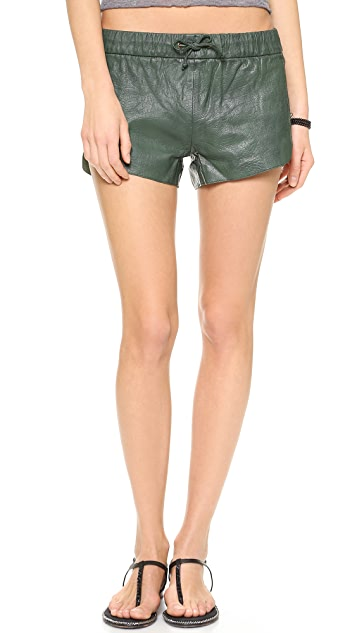 One Teaspoon Daddycool Leather Shorts