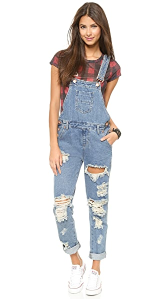 One Teaspoon Wolf Blue Awesome Overalls