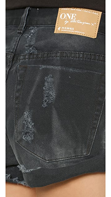 One Teaspoon Vintage Black Hawk Shorts