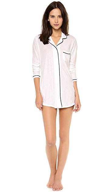 Only Hearts Piped Button Front Nightshirt