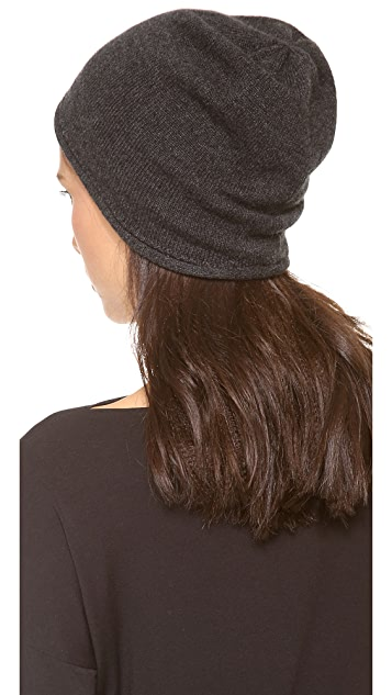 1717 Olive Cashmere Rolled Cuff Slouch Beanie