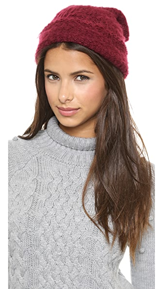 1717 Olive Brushed Purl Knit Beanie
